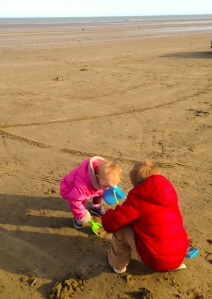 Beach fun in the (cold) Spring sun!