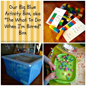 "Our Big Blue Activity Box, aka ""The What to do When I'm Bored"" Box - 15 activity ideas"