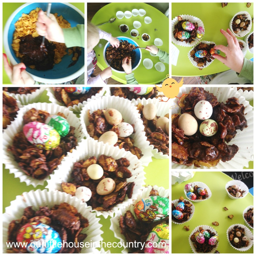 Easter Snack chocolate nests with candy eggs