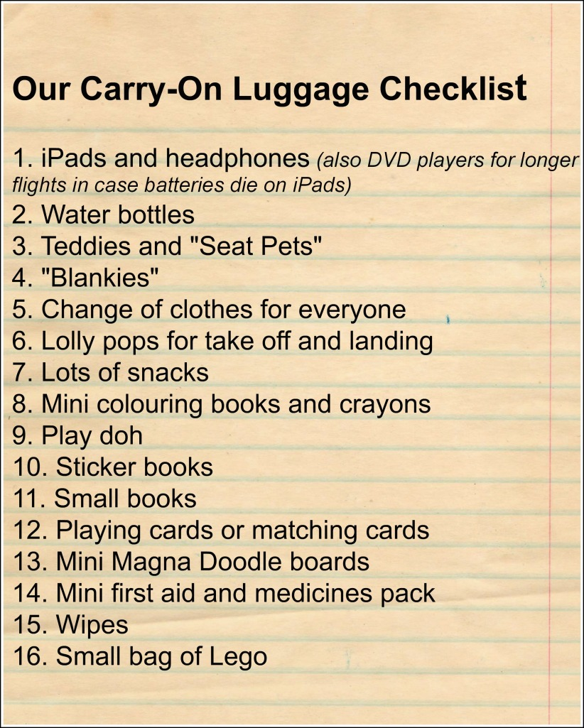 Carry on luggage checklist