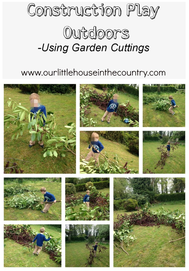 Construction Play Outdoors - Using Garden Cuttings - Our Little House in the Country