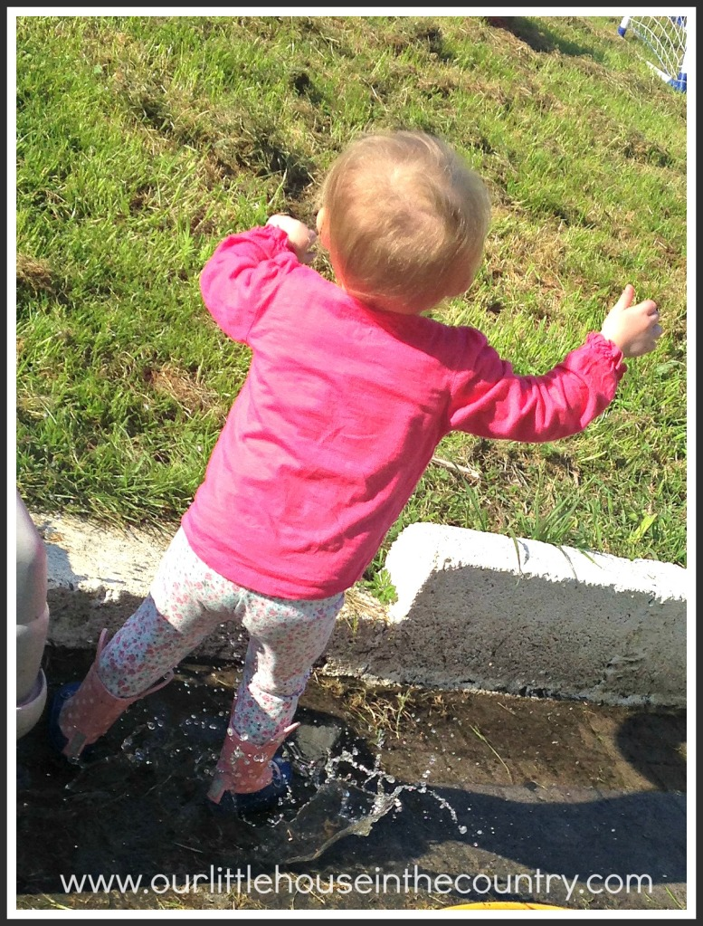 While watering the plants they managed to create lots of puddles giving Oodles a chance to be Peppa Pig and jump in muddy puddles!