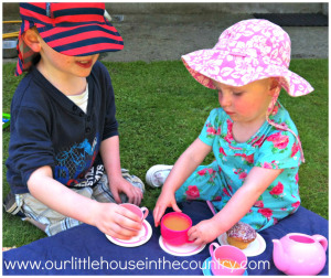 Doodles and OOdles having fun with pretend cafe play outside