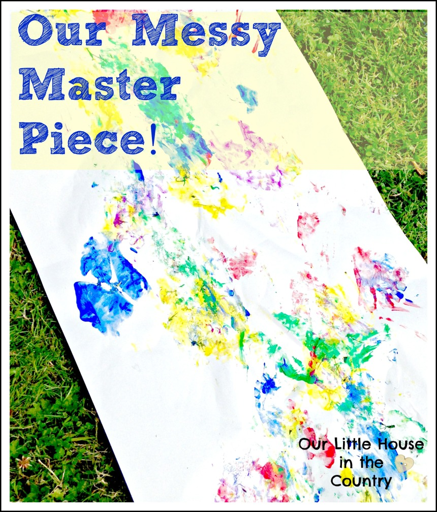 Messy Summer Outdoor Creative Fun - Feet Painting or Printing - Our Little House in the Country #summer #kids #kidsactivities