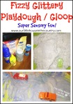 Fizzy Glittery Playdough / Gloop - Super Sensory Fun - Our Little House in the Country #playdough #sensoryplay #gloop #messyplay
