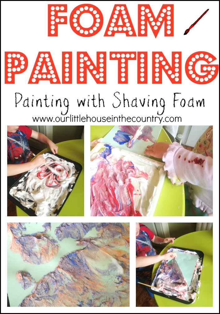 Foam painting-painting with shaving foam - Our Little House in the Country #foampainting #painting #printing