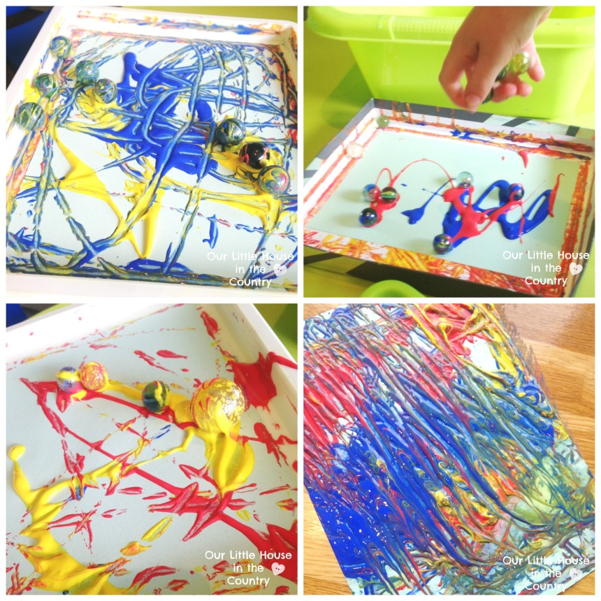 Marble Painting - Messy Art Fun, perfect for a rainyday - Our Little House in the Country #kidsactivities #marblepainting #rainyday #messyplay #kids