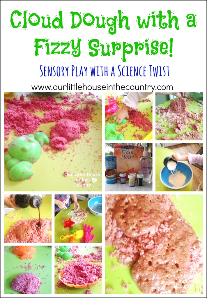 Cloud Dough with a Fizzy Surprise -Sensory Play with a Science Twist - Our Little House in the Country #semsoryplay #clouddough