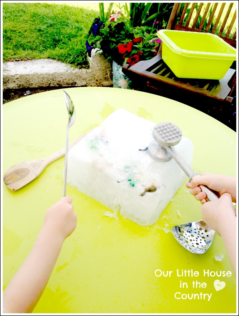 What's Inside The Giant Ice Cube? - Super Outdoor Fun - Our Little House in the Country #iceplay #kidsactivities #gianticecube #summer