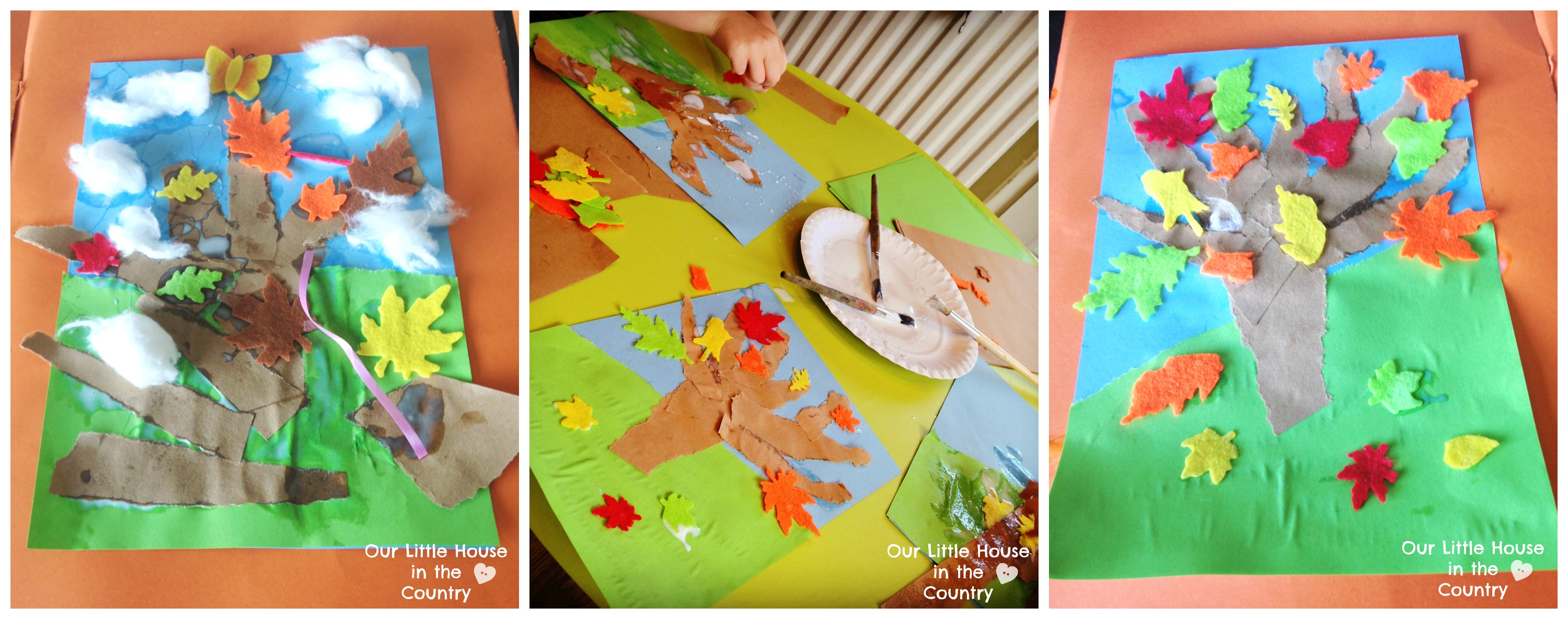 Autumn Tree Collages Fall Art Activities For Kids
