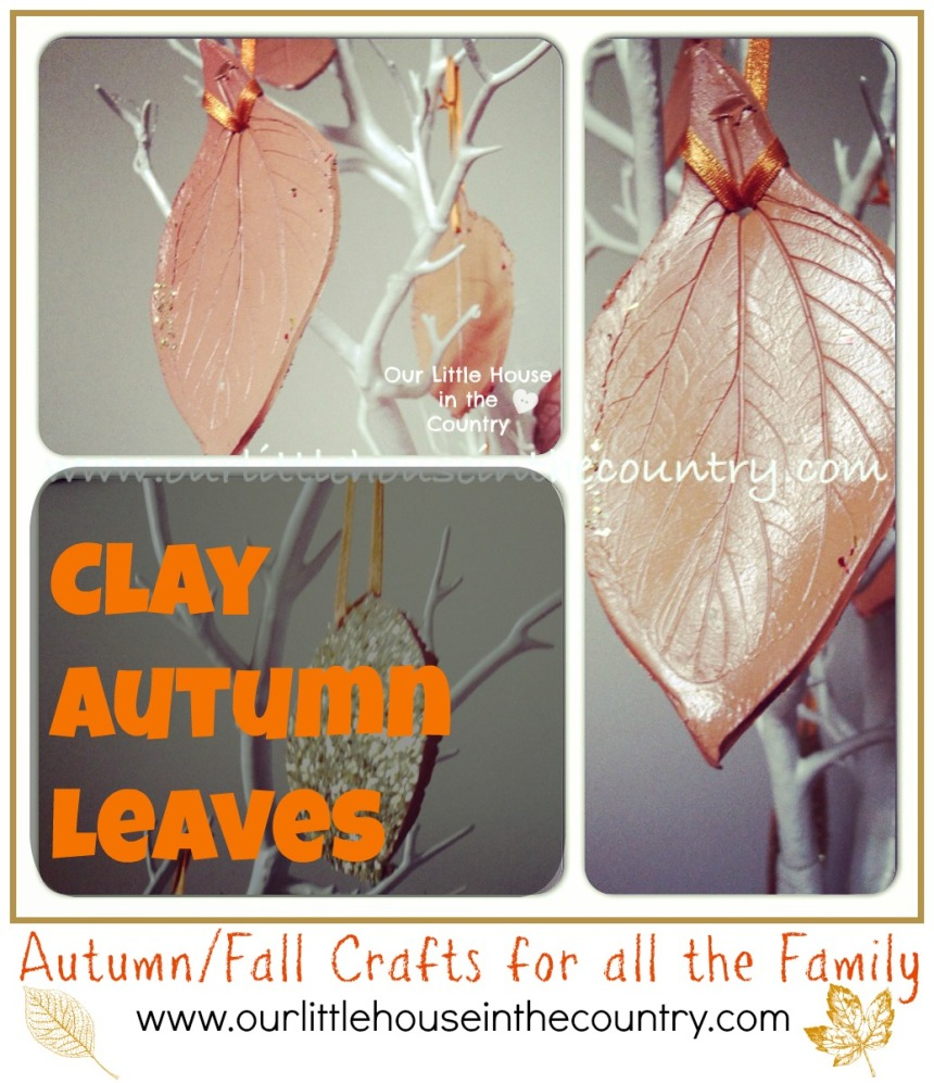 Clay Autumn Leaves - Falls Crafts for Kids - http://ourlittlehouseinthecountry.com #fall #autumn #crafts #kids