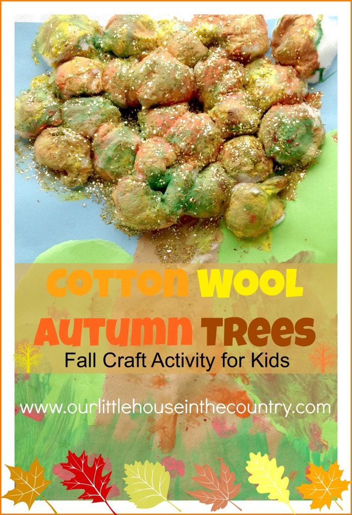 Cotton Wool Autumn Trees - Fall Art Activities for Kids - Our Little House in the Country http://ourlittlehouseinthecounty.com #autumn #fall #kidsactivities #artsandcrafts