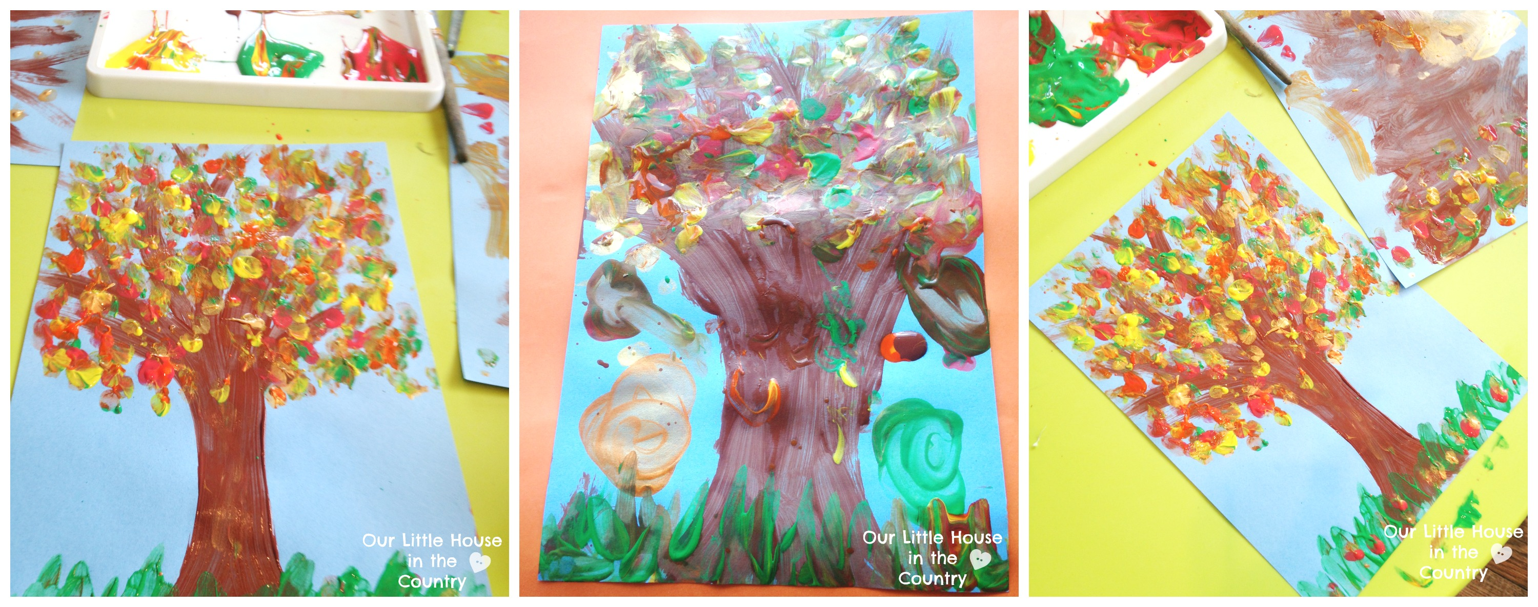Finger Print Autumn Trees Fall Art Activities For Kids Our