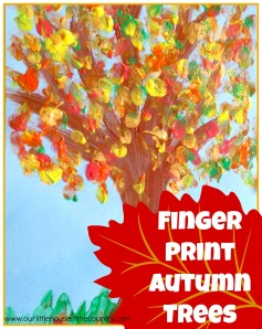 Finger Print Autumn Trees - Fall Art Activities for Kids - Our Little House in the Country #autumn #fall #fingerpainting #artactivities