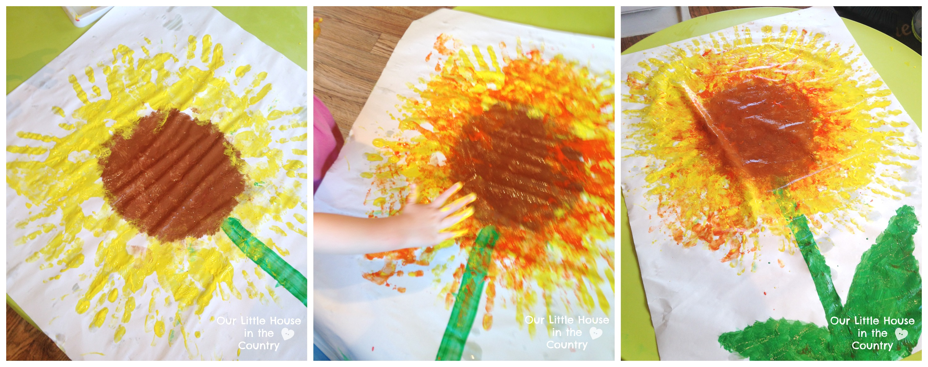 Sunflowers Handprint Art For Kids
