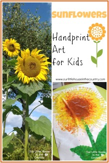 Sunflowers - Handprint Art for Kids - Our Little House in the Country #sunflowers #autumn #fall #handprints