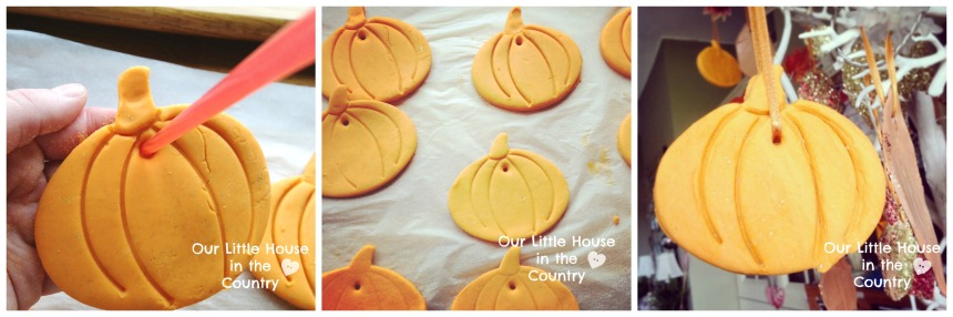 Cornstarch Dough Pumpkin Hanging Decorations - #fall #autumn #crafts for #kids #halloween - Our Little House in the Country