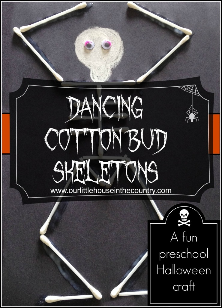 Dancing Cotton Bud Skeletons - a fun preschool Halloween craft - Our Little House in the Country