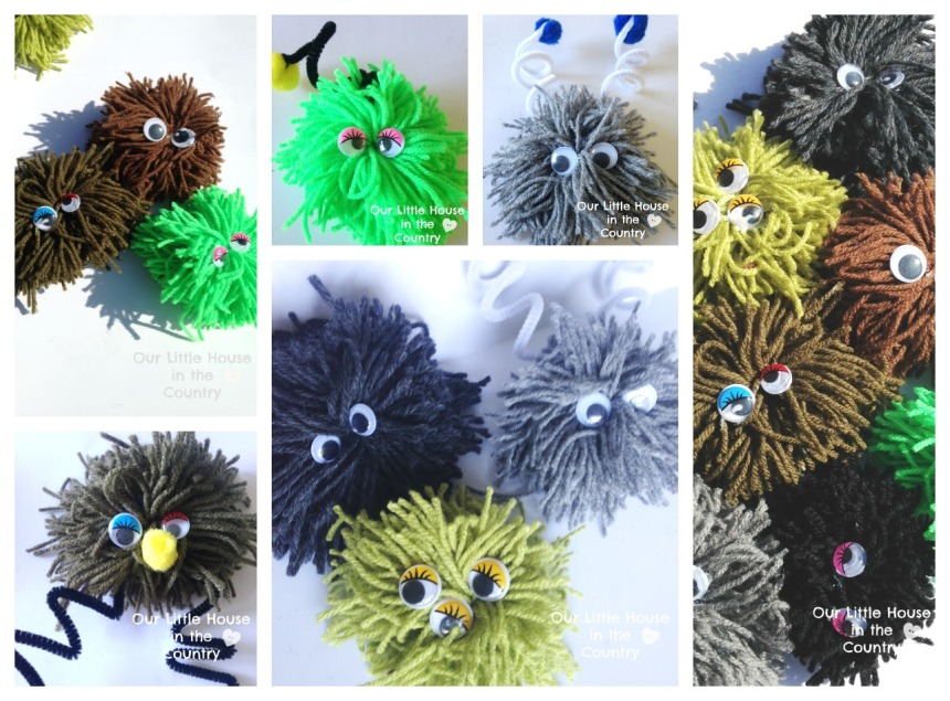 Fuzzy Wuzzy PomPom Monsters - Easy Halloween Craft for Kids - Our Little House in the Country 1