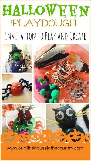 Halloween Playdough Invitation to Play and Learn #halloween #playdough #invitationtoplay