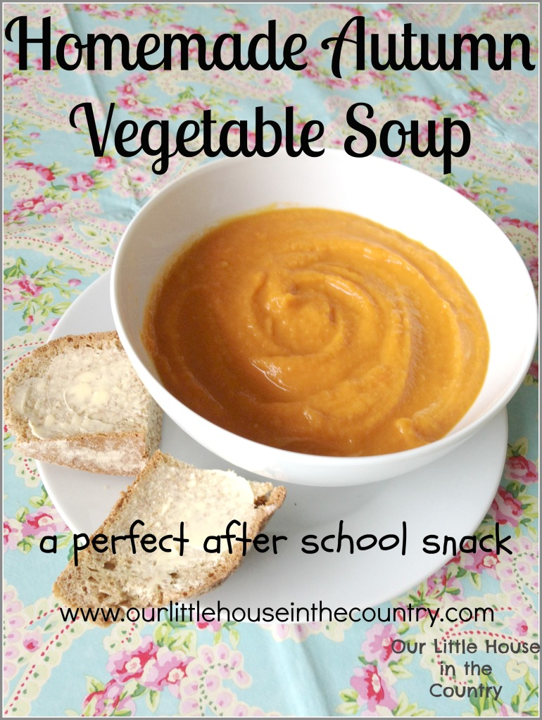 Homemade Autumn Vegetable Soup Recipe - a perfect after school snack - Our Little House in the Country