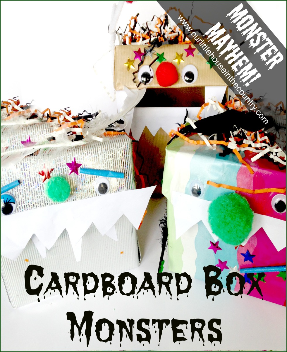 Cardboard box monsters halloween crafts for kids our for Craft box for toddlers