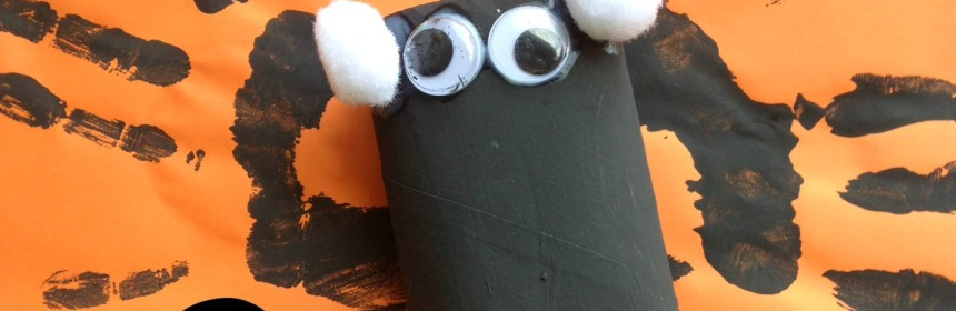 Handprint and Toilet Roll Tube Bats - A quick and esay Halloween craft - Our Little House in the Country 1