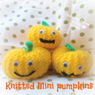 Knitted Mini Pumpkins - a quick and easy knitting project for children with basic knitting skills - Our Little House in the Country