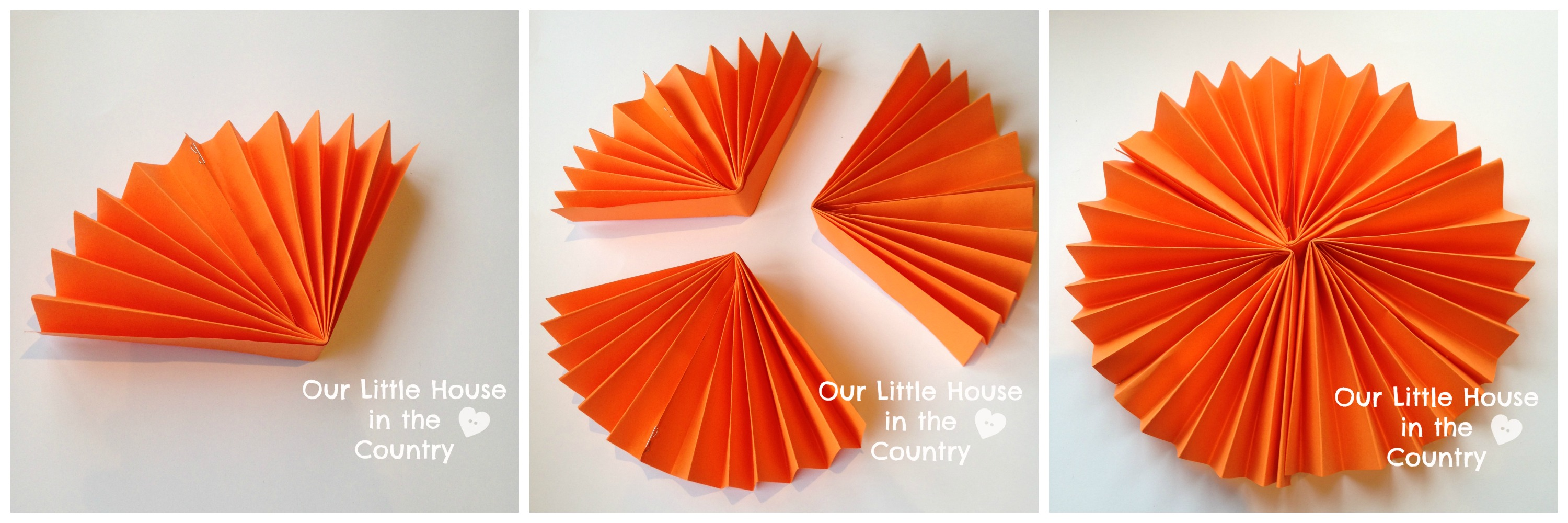 Paper Fan Pumpkin Decorations | Our Little House in the Country