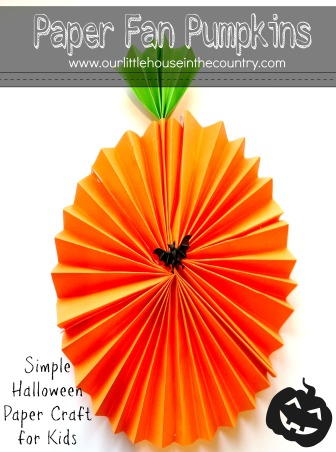 Paper Fan Pumpkin Decorations - Simple Halloween Paper Craft for Kids - Our Little House in the Country