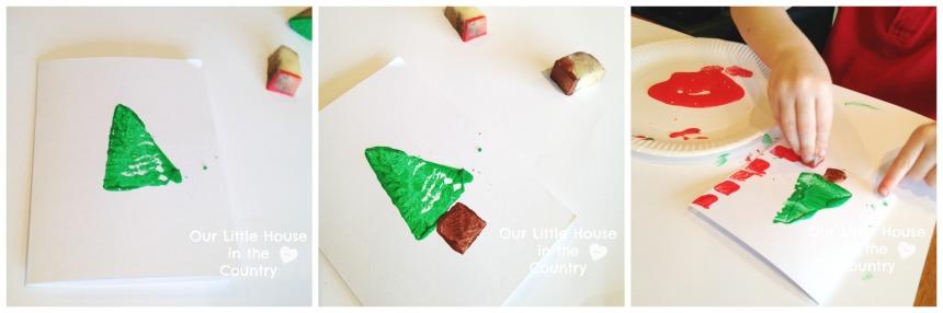 Potato Print Christmas Tree Cards 1