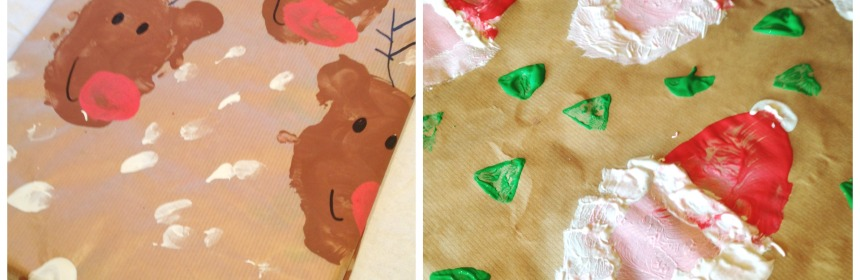 Potato Print Reindeer and Santa Christmas Wrapping Paper - Our Little House in the Country