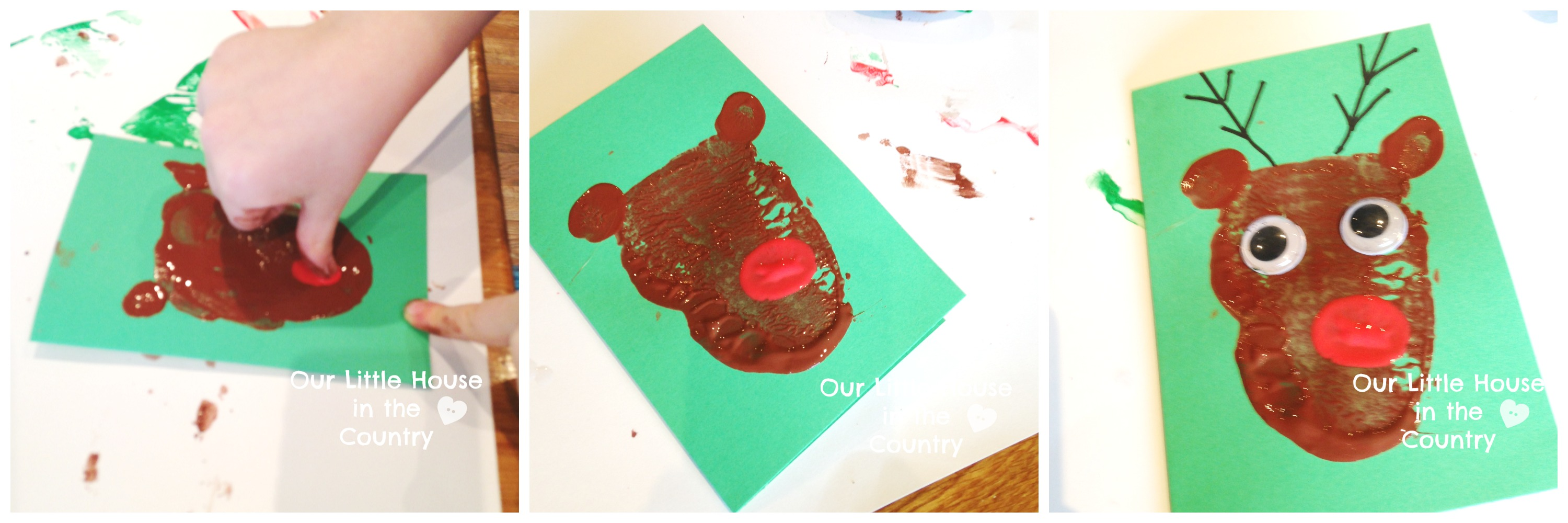 Potato Print Reindeer Christmas Cards | Our Little House in the Country