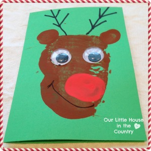 Potato Print Reindeer Christmas Card - Our Little House in the Country 5
