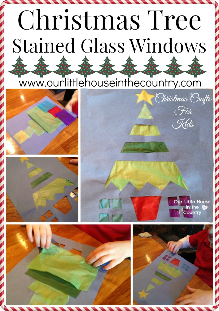 Christmas Tree Stained Glass Windows - Our Little House in the Country
