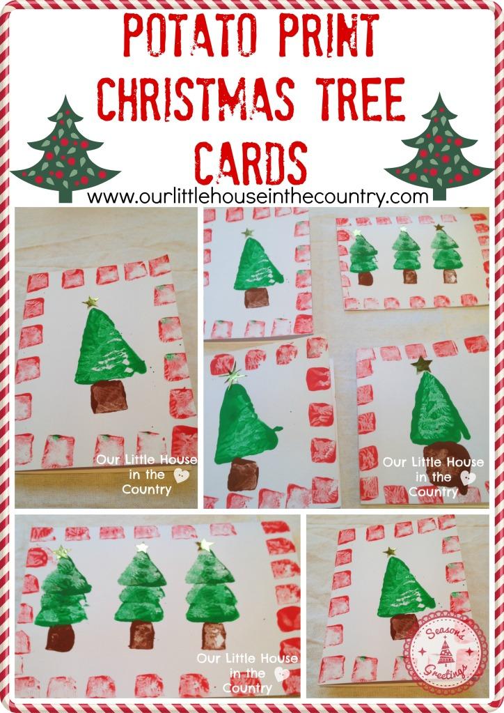 Potato print christmas tree cards our little house in for Christmas tree cards to make