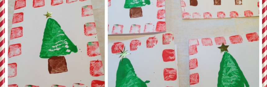 Potato Print Christmas Tree Cards - Our Little House in the Country
