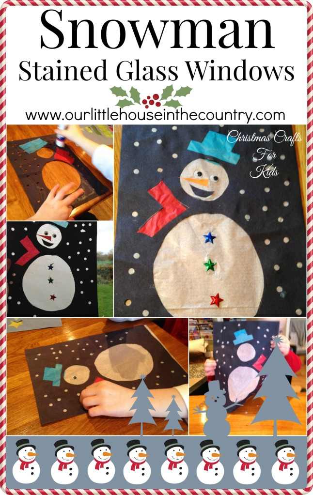 Snowman Stained Glass Windows - Christmas Crafts For Kids - Our Little House in the Country