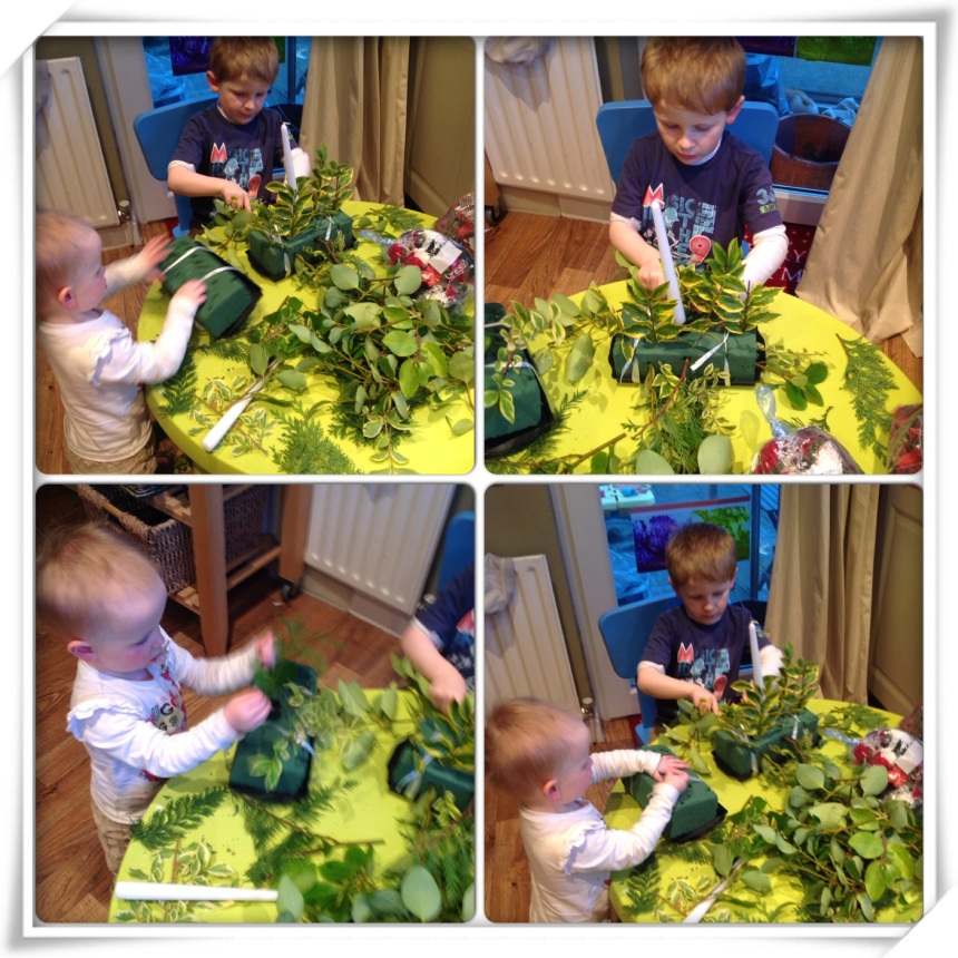 Christmas Candle Flower Arranging for Kids - Our Little House in the Country