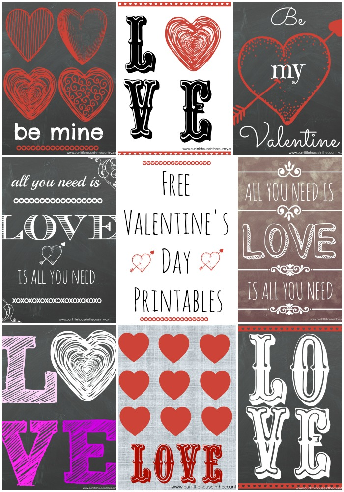Free Valentine's Day Printables - Our Little House in the Country