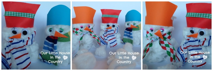 Toilet Roll and Cotton Wool Snowmen - A winter Preschool Craft - Our Little House in the Country