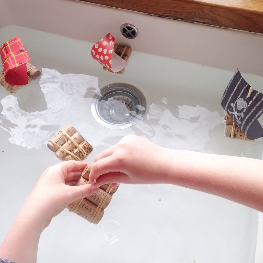 Wine Cork Mini Pirate Ship Craft for Kids - Our Little House in the Country