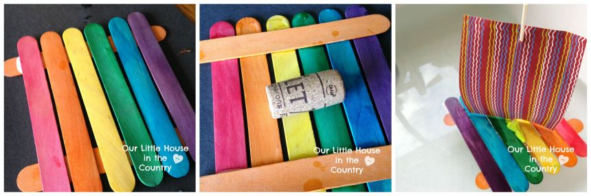 Ice Lolly Stick Mini Rafts - simple crafts fro kids - Our Little House in the Country