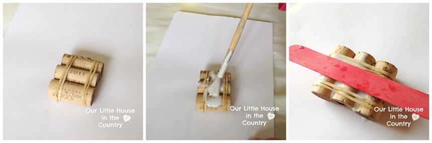 Match Stick Floating Mini Rafts - Simple Wine Cork Crafts for Kids - Our little House in the Country